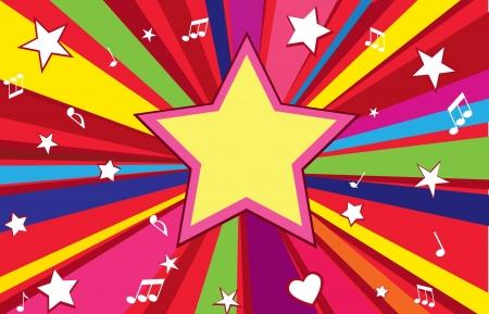 simbolos musicales: Fondo de vacaciones de la estrella, con copia espacio Party wallpaper Vectores