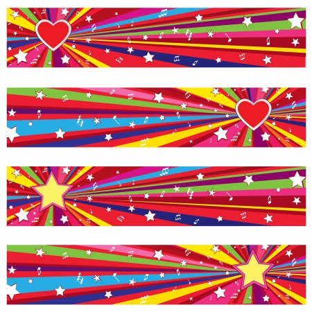 festivities: Star holiday backgrounds set with copy space  Party wallpaper  Illustration