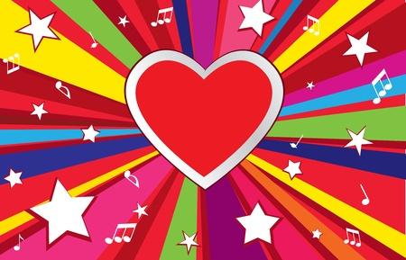 Heart shape frame  I love music concept background  Vintage Holiday background