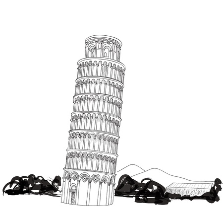 leaning tower of pisa: Tower of Pisa hand drawn vector illustration  Leaning Tower of Pisa,  Pisa, Tuscany, Italy  Illustration