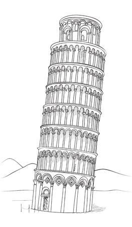 ピサの斜塔手描きイラスト ベクトル ピサの斜塔、ピサ、トスカーナ、イタリア