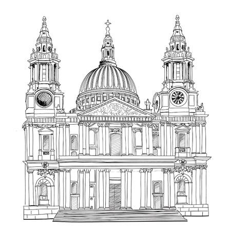barroco: Catedral de San Pablo, Londres, Reino Unido dibujado a mano ilustración vectorial de fondo de la vendimia