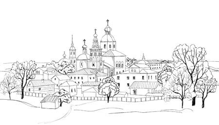 Antigua ciudad rusa paisaje urbano dibujo Sketch de vista de Suzdal Vector paisaje urbano Las calles estrechas del casco antiguo con acceso al parque, cerca de la iglesia de El Anillo de Oro de Rusia