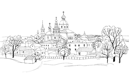 moscow churches: Old russian town cityscape  Sketch drawing of view of Suzdal town  Vector landscape  The narrow streets of old town with access to the park near the church The Golden Ring of Russia