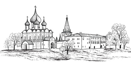 orthodoxy: Old russian town landscape hand drawn vector illustration  Suzdal Kremlin  View of Suzdal cityscape  The Golden Ring of Russia