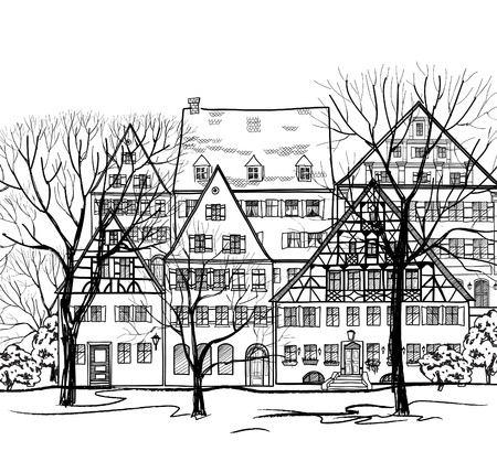 town homes: Autumn cityscape  Old european town street  Old street background  Hand drawing vector illustration