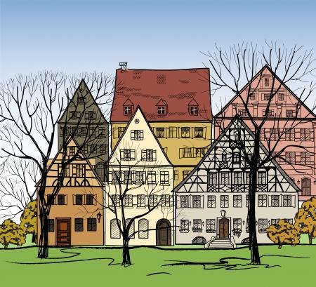 roof tile: Autumn cityscape  Old european town street  Hand drawing vector illustration   Illustration