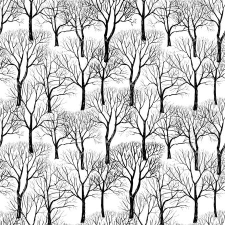 �rbol sin hojas aisladas sobre fondo marr�n Seamless vector pattern planta textura perfecta de las ramas en el fondo blanco