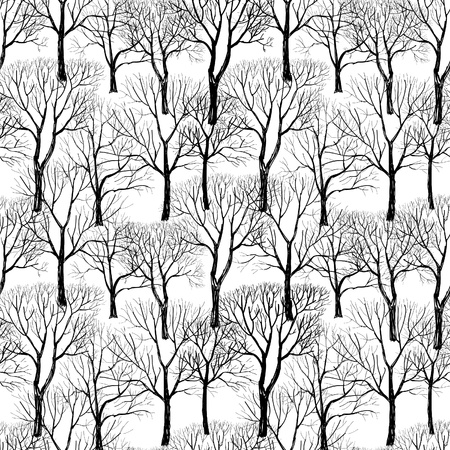 snow fall: Tree without leaves isolated on brown background  Seamless vector pattern  Plant seamless texture of the branches on the white background