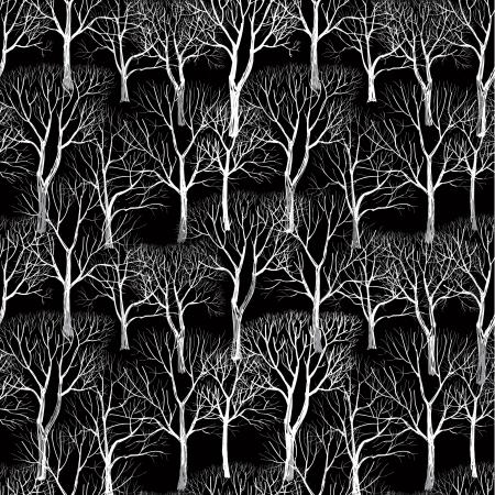 �rbol sin hojas aisladas sobre fondo marr�n Seamless vector pattern planta textura perfecta de las ramas en el fondo negro