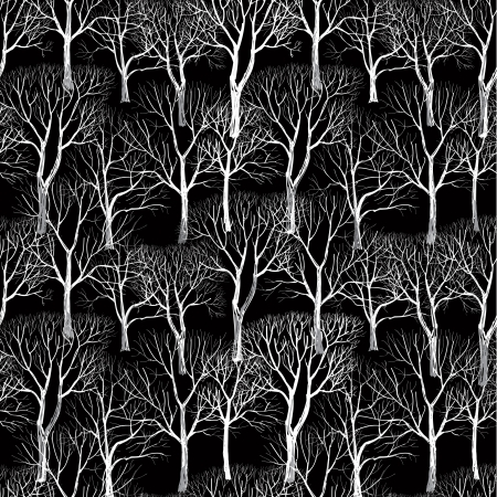 winter garden: Tree without leaves isolated on brown background  Seamless vector pattern  Plant seamless texture of the branches on the black background