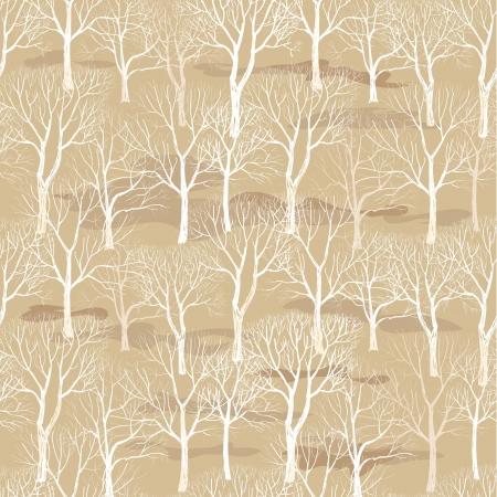 arboles secos: Árbol sin hojas aisladas en el fondo sin fisuras patrón marrón