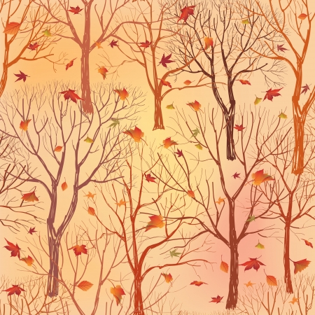 Autumn leaves seamless pattern  Fall forest seamless background   Vector