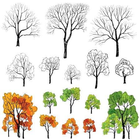 deciduous tree: Cuatro estaciones de �rboles s�mbolo icono de conjunto dibujado a mano ilustraci�n vectorial aislado sobre fondo blanco Vectores