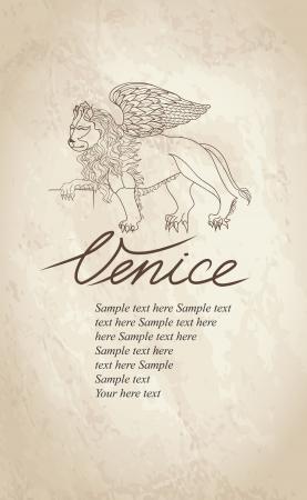 leon con alas: León con alas - símbolo de Venecia, Italia a mano ilustración dibujo de San Marcos veneciana símbolo