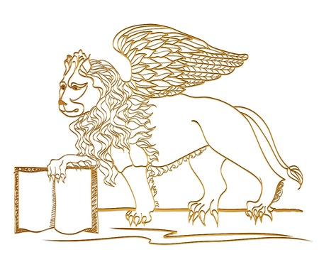 lion drawing: Winged Lion, scultura d'oro, simbolo di San Marco, Venezia Vettoriali