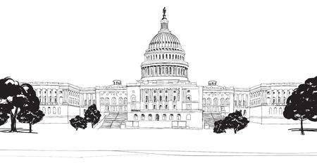 워싱턴 DC 국회 의사당 풍경, USA 손으로 그린 연필 그림 일러스트