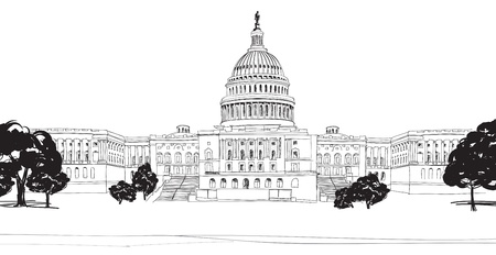 us government: Washington DC Capitol landscape, USA  Hand Drawn Pencil  Illustration   Illustration