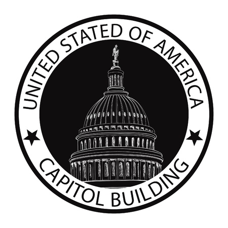 u s: Capitol Building Hand Drawn Vector Label  United States Capitol Grunge Rubber Stamp  DC icon  Capitol hill, U  S  Capitol dome   Illustration