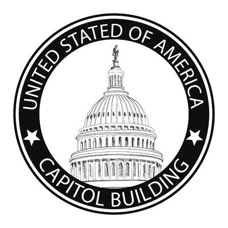 국회 의사당: 국회 의사당 건물 손으로 그린 벡터 라벨 미국 국회 의사당 그런 고무 DC 아이콘 의사당, 미국 국회 의사당의 돔 우표