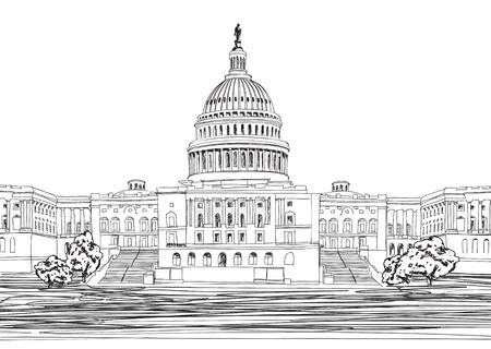 capitel: Washington DC Capitol paisaje, EE.UU. Dibujado a mano lápiz Ilustración vectorial
