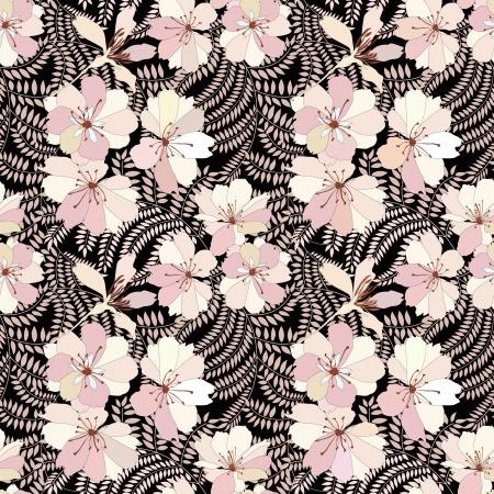 花のシームレスな背景の装飾的な花のパターン  イラスト・ベクター素材