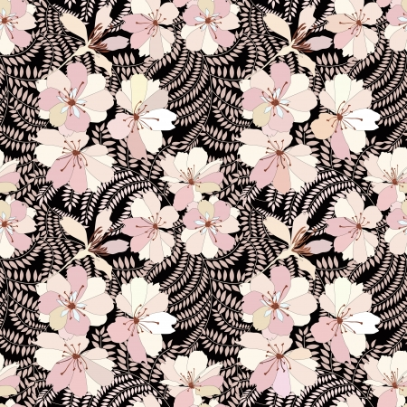 Floral seamless background  Decorative flower pattern   Иллюстрация