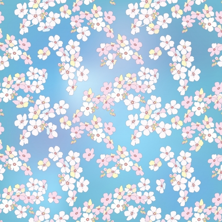 Abstract elegance vector illustration texture with forget-me-not  Seamless pattern with flower bouquet ornament on blue background   Vector