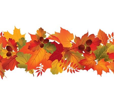 秋のシームレスな背景秋の繰り返し境界線の自然の壁紙設定の葉ベクター コレクション秋セット