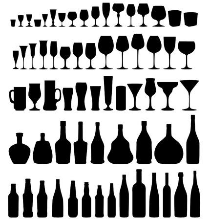 Glas en fles vector silhouet collectie Set van verschillende dranken en flessen op een witte achtergrond
