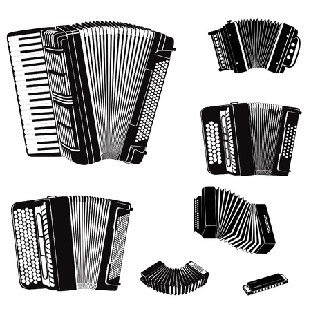 concertina: Music instruments vector set  Musical instrument silhouette on white background  Accordion family music equipment collection