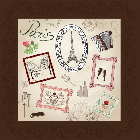 Paris illustration set  Love paris frame vintage collection  French cafe  Stock Vector - 22204638