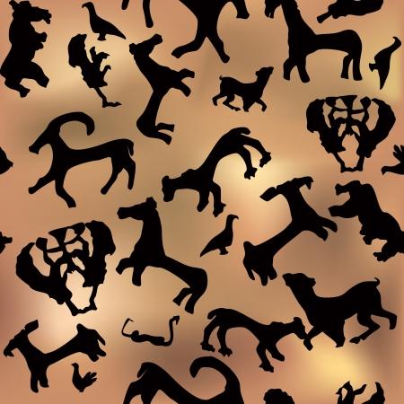cave painting: Antichi silhouette seamless Grotta di Pittura animali background senza soluzione di continuit� illustrazione vettoriale arte