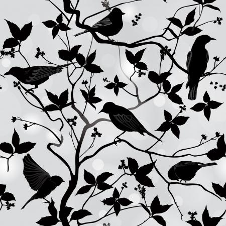 새들은 가지와 잎 원활한 배경 봄 꽃 패턴 장식 그림 실루엣