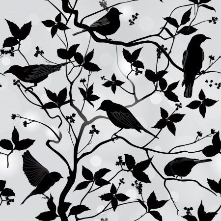 Birds silhouette on branch and leaf seamless background  Floral spring pattern  Ornamental illustration   向量圖像