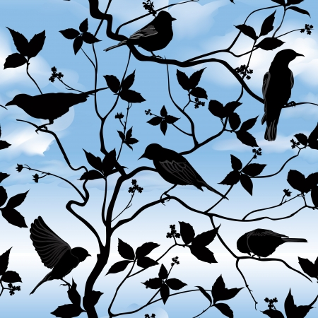 Set of birds on wires over blue sky background  Birds silhouette on branch and leaf seamless background  Floral spring pattern   Vector