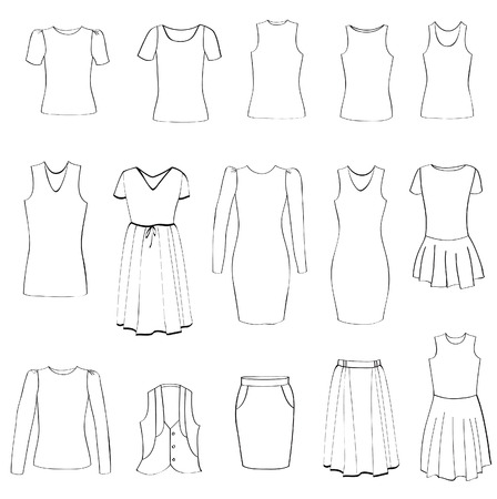 Fashion icons set  Female cloth collection  Hand drawing illustrations  Vector