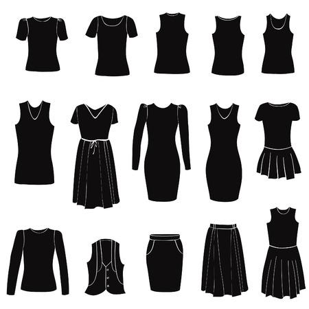 femme en sous vetements: icônes de mode féminins mis en recouvrement en tissu silhouette de robe illustrations de dessin à la main Illustration