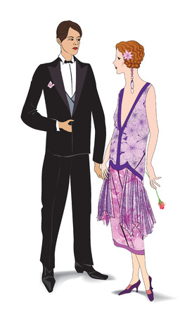 30s: Couple on party  Man and woman in cocktail dress  Illustration