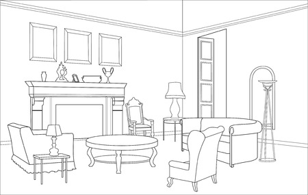 comfort room: Furniture Drawing-room  Editable illustration