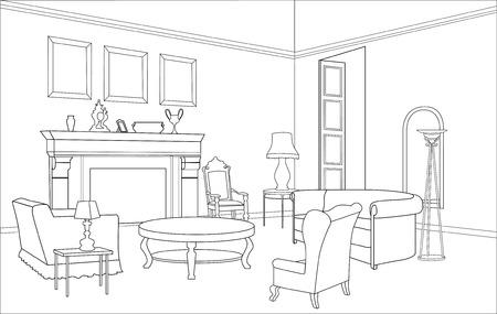chimney corner: Muebles Drawing-room Ilustraci�n editable Vectores