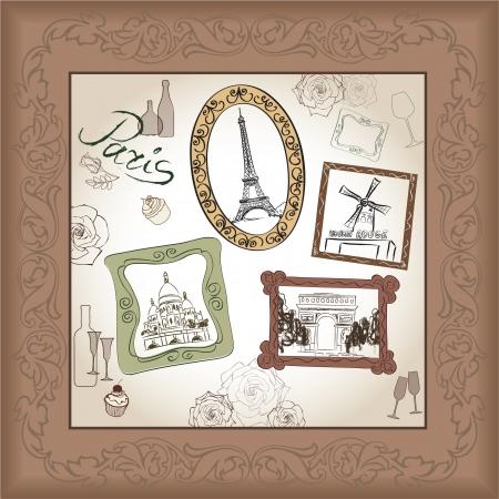 montmartre: Paris illustration set  Love paris frame vintage collection  Eiffel tower Scrapbooking hand drawing kit