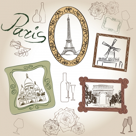 scrapbooking voyage: Amour paris vintage frame illustration de collection