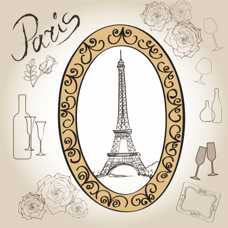 Love paris frame vintage collection  illustration  Vector