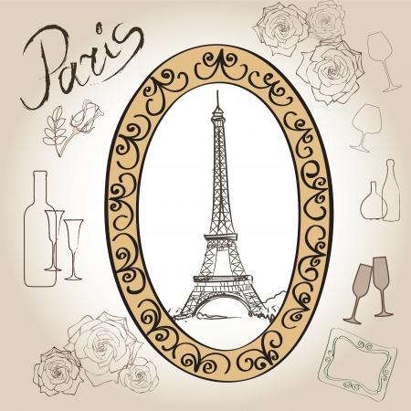 french cafe: Love paris frame vintage collection  illustration  Illustration