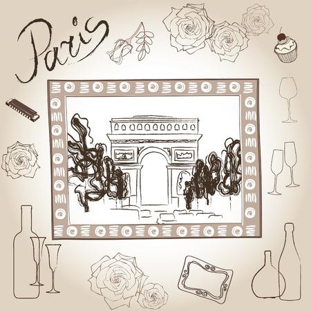 Love paris frame vintage collection  Scrapbooking triumphal arch illustration  Illustration