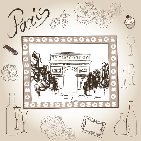 fragrances: Love paris frame vintage collection  Scrapbooking triumphal arch illustration  Illustration