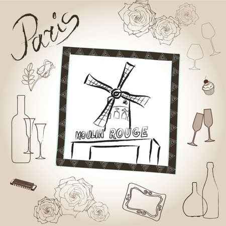 rouge: Love paris frame vintage collection  The Moulin Rouge Scrapbooking illustration