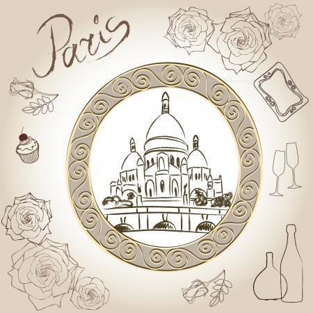 sacre coeur: cadre de paris Love collection vintage Basilique du Sacré-C?ur illustration Scrapbooking