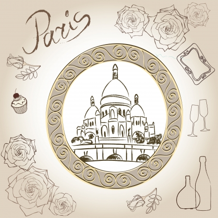 montmartre: Love paris frame vintage collection  Basilica of the Sacred Heart  Scrapbooking illustration
